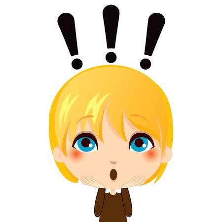 Portrét ilustrace roztomilý kluk dělat překvapení gesto výraz Ilustrace
