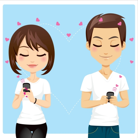 happy phone: Portrait of young couple sending love messages using cellphone wireless communications