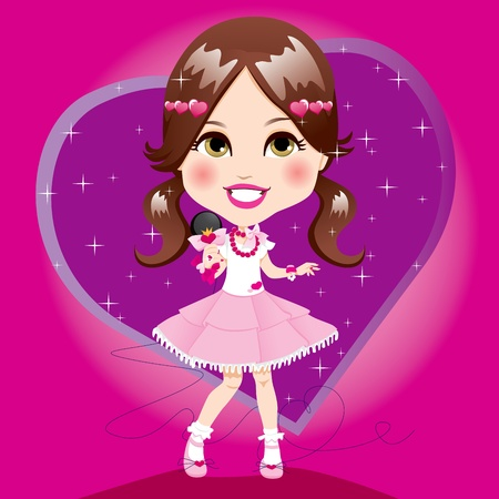 Cute little girl with white and pink dress holding microphone singing and dancing Vector