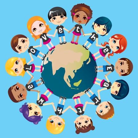 enfants noirs: Les enfants se tenant la main � travers le monde portent des chemises avec la phrase du texte Nous aimons la Terre