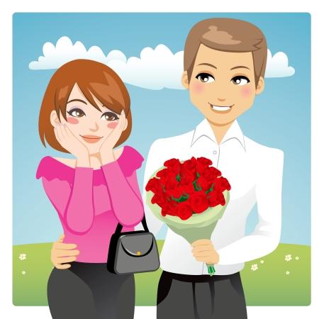 빨간색을주는 아름 다운 여자를 놀라게 잘 생긴 남자의 초상화 사랑의 선물로 장미 꽃다발