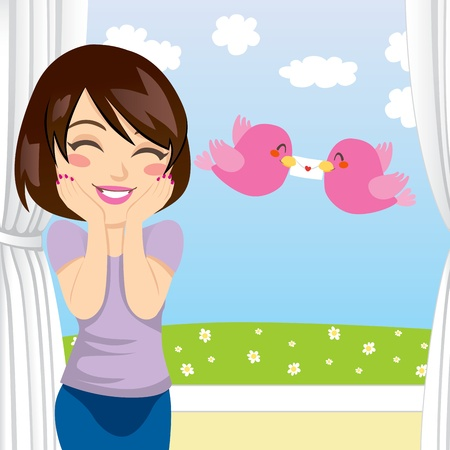 cartoon envelope: Beautiful woman gets happy surprise when two birds give her a love letter through an open window
