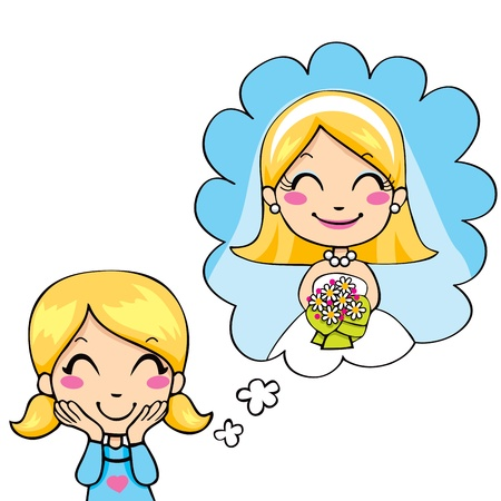 Cute little girl cheerful dreaming wedding day in white bridal dress and colorful bouquet Vector