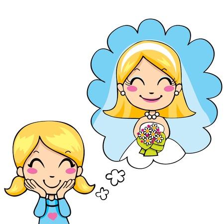 niños pensando: Linda niña alegre sueño en el día de la boda vestido de novia blanco y un ramo de colores Vectores