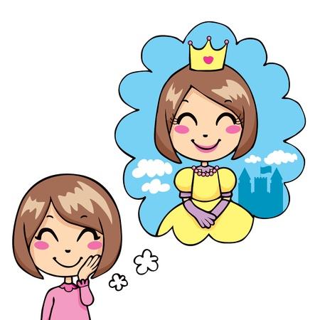 niños pensando: Soñar lindo niña alegre de ser una princesa en traje real y corona de oro Vectores