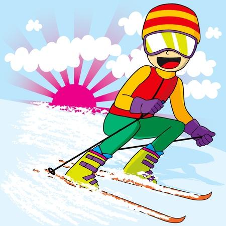 narciarz: Nastolatek narciarz kolorowe odzieży sportowej jazdy na nartach w dół szybko