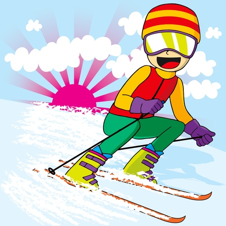 Tiener skiër met kleurrijke sportkledij skiën snel bergafwaarts