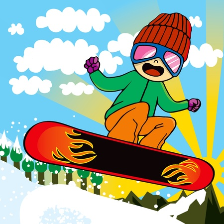 illustration cool: Young snowboarder kid with fire snowboard jumping through sky on mountain