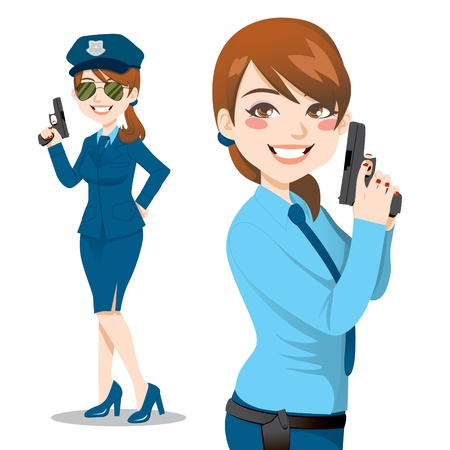 mujer policia: Joven y bella morena de la polic�a sosteniendo un arma de fuego listos para hacer cumplir la ley y detener el crimen