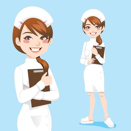 enfermero caricatura: Hermosa enfermera amable y segura sonrisa sujetapapeles celebraci�n
