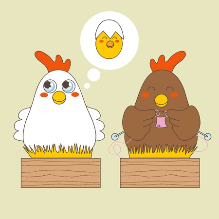 maternity: White and brown hens thinking about baby egg chick and knitting on straw wooden boxes