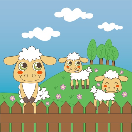 Three little cute sheep grazing on the farm field Vector
