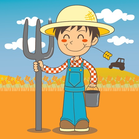 Young farmer boy working on the farm field and holding a fork and a bucket Vector