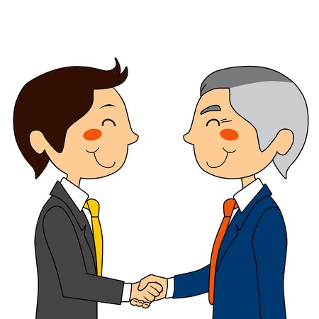 work experience: Young businessman meeting with experienced senior executive and shaking hands Illustration