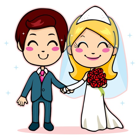 Cute married couple smiling with joy holding hands on wedding day Stock Vector - 12357433
