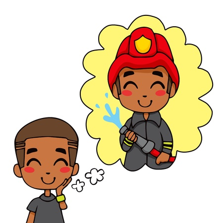 Cute little black boy dreaming being a fireman hero extinguishing fire Vector