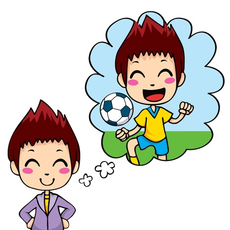 fantasizing: Cute little boy dreaming being a professional soccer team player Illustration