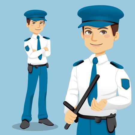 agent de sécurité: Portrait de policier professionnel beau debout et la manipulation d'un côté de la police poignée bâton Illustration