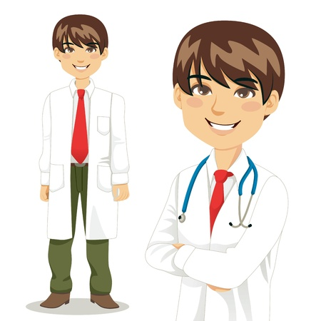Portrait of handsome professional doctor standing and with arms crossed Vector