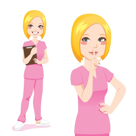 medical clipboard: Beautiful blond nurse smiling holding clipboard and making silence sign with finger on lips Illustration