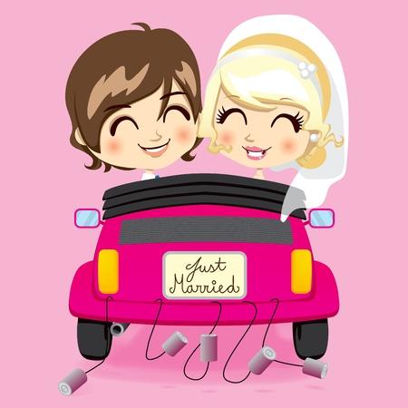 El novio y la novia de conducir un automóvil de color rosa con una placa del coche acaba de casarse y latas atadas al parachoques