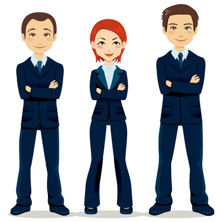 businesses: Confident team of three business people partners standing with arms crossed Illustration