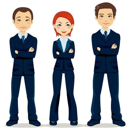 cartoon mensen: Vertrouwend team van drie mensen uit het bedrijfsleven partners staan met de armen gekruist