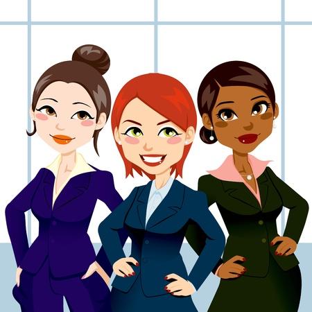 dibujos animados de mujeres: Tres mujeres de negocios atractivas y conf�a en pie con las manos en las caderas y