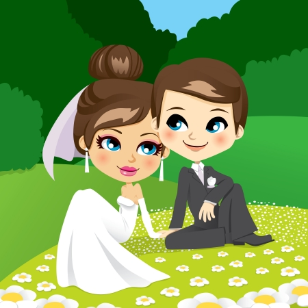 Bride and groom sitting on the grass in a beautiful flower garden touching hands tenderly