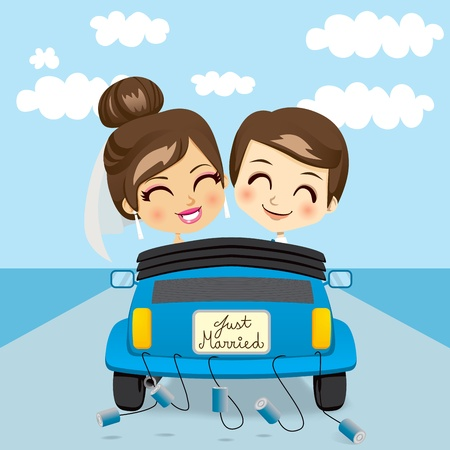 marriage cartoon: Just married couple driving a blue car in honeymoon trip