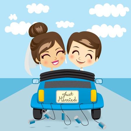 pareja casada: Pareja acaba de casarse con la conducción de un automóvil azul en viaje de luna de miel