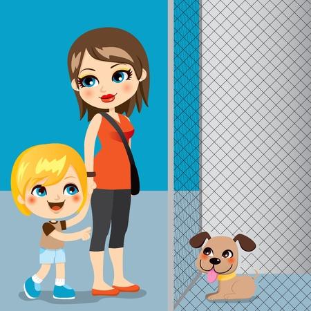 homelessness: Little boy con la madre che adotta un simpatico cane da canile Vettoriali