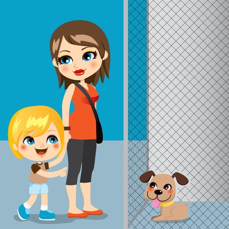 adopting: Little boy with mother adopting a cute dog from animal shelter Illustration
