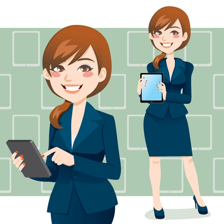 터치 패드 태블릿 휴대용 컴퓨터를 사용하는 아름 다운 갈색 머리 비즈니스 여자 일러스트