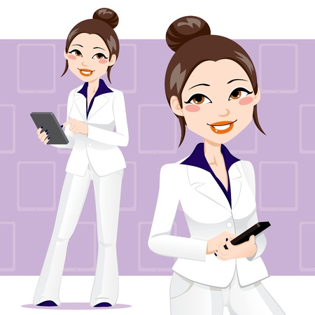 asian business woman: Beautiful asian business woman using a touch pad tablet portable computer Illustration