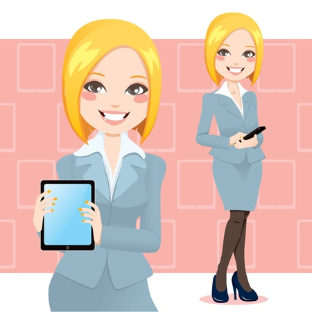 Beautiful blond business woman using a touch pad tablet portable computer