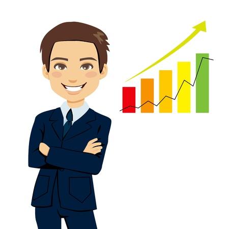 Exitoso hombre de negocios de pie con los brazos cruzados junto a la barra de gráficos que muestran estadísticas de tendencia de crecimiento del negocio