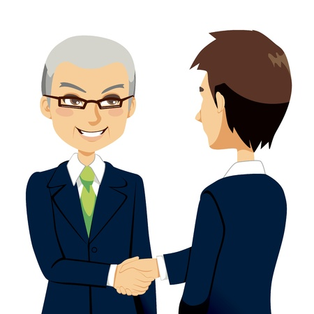 sales meeting: Senior experienced salesman agent greeting with handshake young business partner