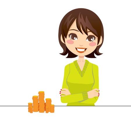 Vrouw lachend met de armen gekruist naast een stapel gouden munten Vector Illustratie