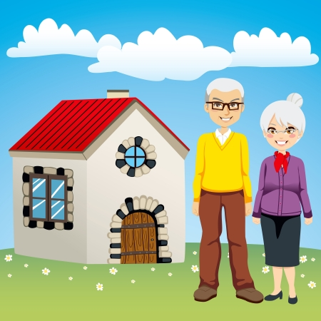 Senior couple standing in front of sweet old style retirement house