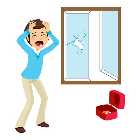 burglary: Desperate burglary victim finds broken window and empty money box after robbery Illustration
