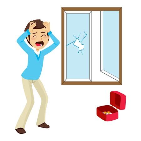 Víctima de robo Desesperada se encuentra la ventana rota y la caja de dinero vacía después de un robo
