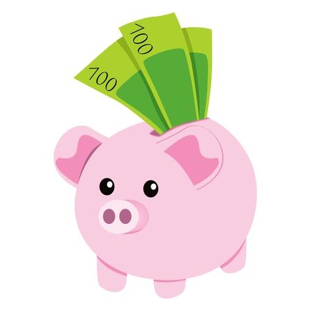 cerdo caricatura: Pink hucha de cerámica con un centenar de ahorro de verdes billetes de banco Vectores
