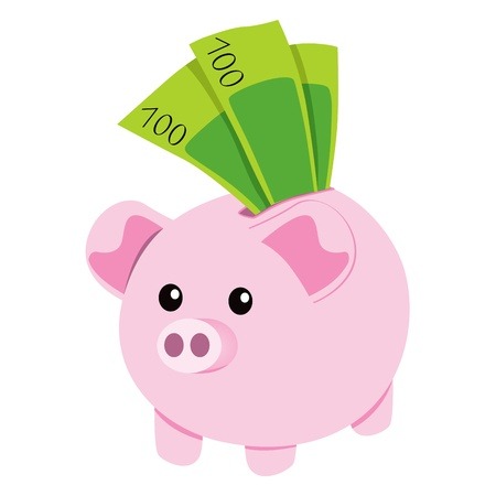 chancho caricatura: Pink hucha de cer�mica con un centenar de ahorro de verdes billetes de banco Vectores