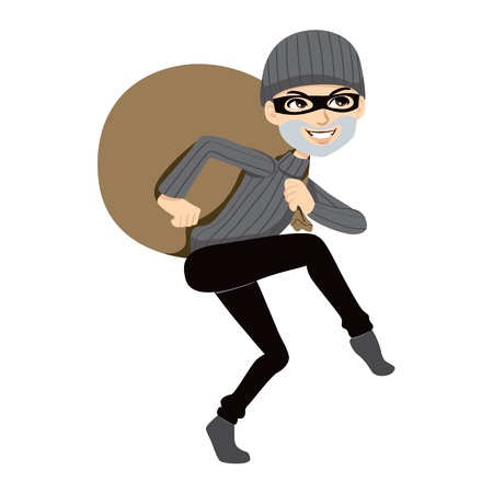 burglar man: Happy thief sneaking carrying a huge bag of stolen property