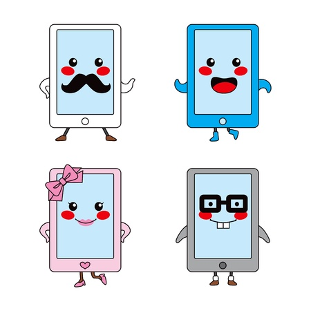 Funny and cute touch pad tablet cartoon characters Vector