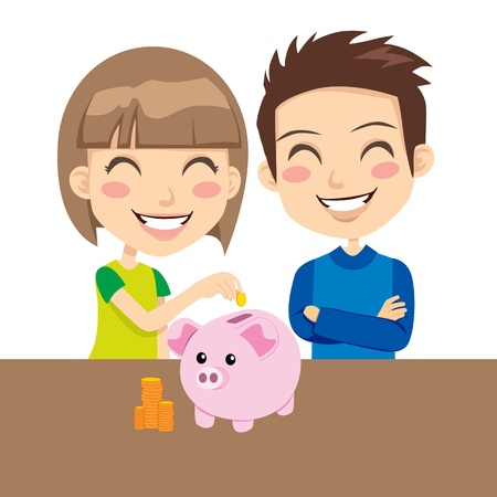 brothers: Little boy and girl happy saving money in pink piggy bank