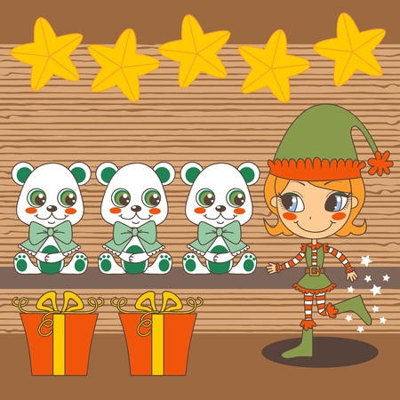 Christmas fairy Santa Claus helper working on toy workshop making teddy bears Vector