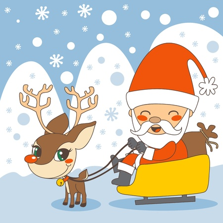 rudolph the red nose reindeer: Santa in his sleigh and Rudolph the red nosed reindeer Illustration