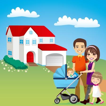 Junge Familie glücklich draußen vor der schönen neuen Haus